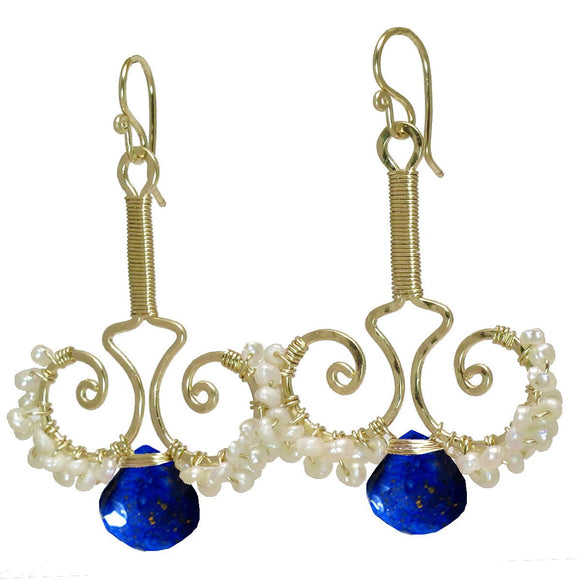 Calico Juno Designs Lapis and Pearl Earrings N79 Artistic Artisan Designer Jewelry