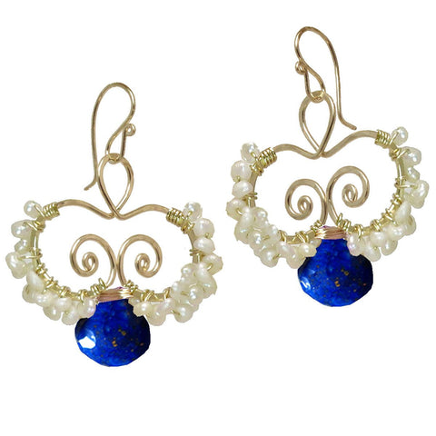 Calico Juno Designs Lapis and Pearl N138 Artistic Artisan Designer Jewelry