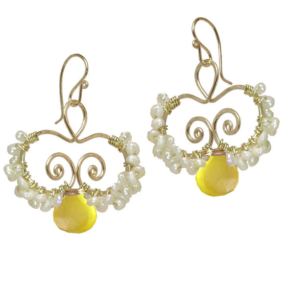 Calico Juno Designs Lemon Chalcedony Earrings N138 Artistic Artisan Designer Jewelry