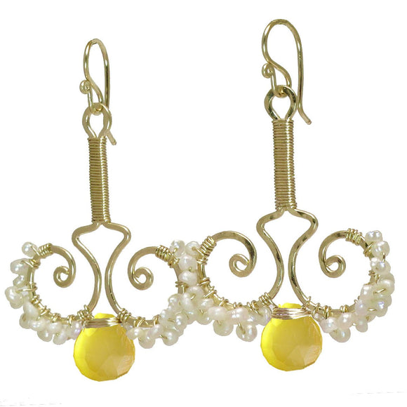 Calico Juno Designs Lemon Chalcedony and Pearl Earrings N79 Artistic Artisan Designer Jewelry