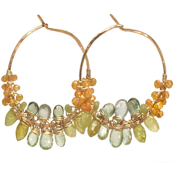 Calico Juno Designs Mandarin Garnet Green Garnet and Moss Aquamarine Earrings CLP111 Artistic Artisan Designer Jewelry