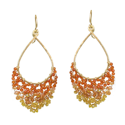Calico Juno Designs Mixed Orange Tourmaline Earrings LB42 Artistic Artisan Designer Jewelry