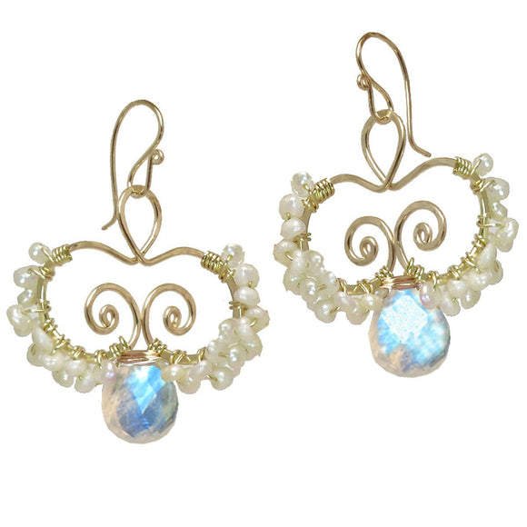 Calico Juno Designs Moonstone and Pearl Earrings N138 4 Artistic Artisan Designer Jewelry