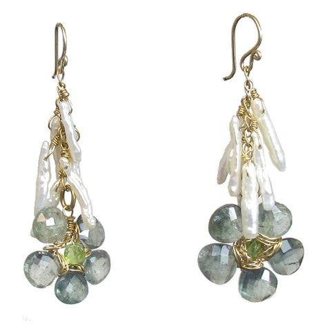 Calico Juno Designs Moss Aquamarine and Ivory Biwa Pearl Earrings P233 Artistic Artisan Designer Jewelry