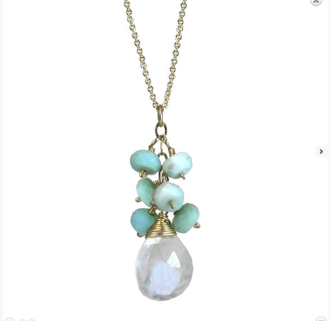 Calico Juno Designs Opal an Moonstone Necklace NK12 Artistic Artisan Designer Jewelry