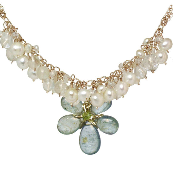 Calico Juno Designs Pearl Crystal Quartz and Moss Aquamarine Necklace NK294 Artistic Artisan Designer Jewelry