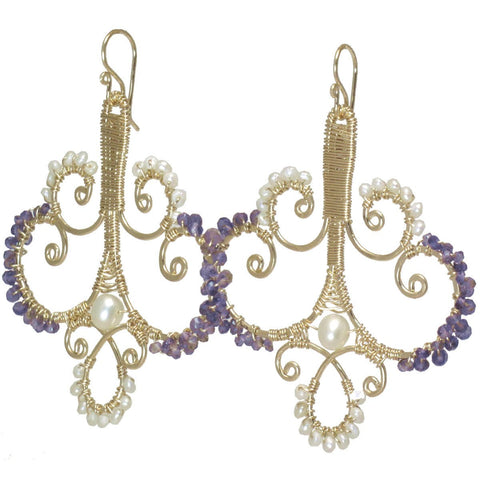 Calico Juno Designs Pearl and Amethyst Earrings LB184 Artistic Artisan Designer Jewelry