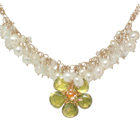 Calico Juno Designs Peridot Carnelian and Pearl Necklace NK294 Pearl PeridotArtistic Artisan Designer Jewelry