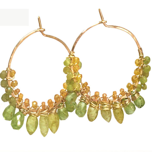 Calico Juno Designs Peridot Mandarin and Green Garnet Earrings CLP110 Artistic Artisan Designer Jewelry