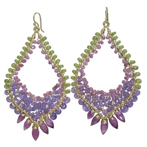Calico Juno Designs Peridot Tanzanite and Amethyst Earrings LB247 Artistic Artisan Designer Jewelry