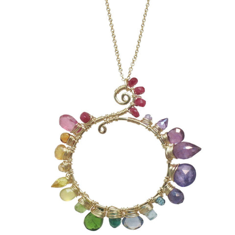Calico Juno Designs Pink Ruby Citrine Orange Sapphire Yellow Sapphire Peridot Diopside Tanzanite Blue Topaz and Amethyst Necklace NK242 Artistic Artisan Designer Jewelry