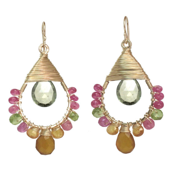 Calico Juno Designs Pink Ruby Mandarin Garnet Peridot snd Green Amethyst Earrings SRN176 Artistic Artisan Designer Jewelry
