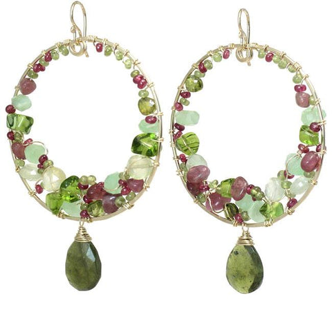 Calico Juno Designs Pink Ruby Peridot Prehnite and Vessonite Earrings S101 Artistic Artisan Designer Jewelry
