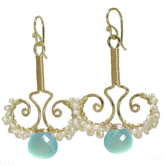Calico Juno Designs Sea Blue Chalcedony Earrings N79 Artistic Artisan Designer Jewelry