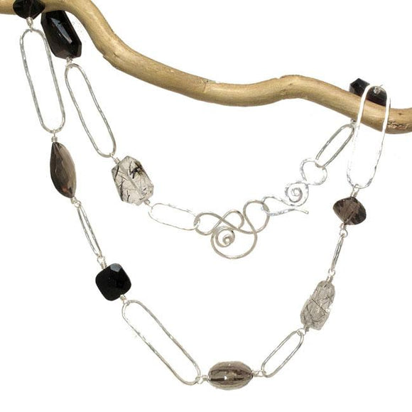 Calico Juno Designs Smoky and Crystal Quartz Black Onyx Necklace NK369 Artistic Artisan Designer Jewelry