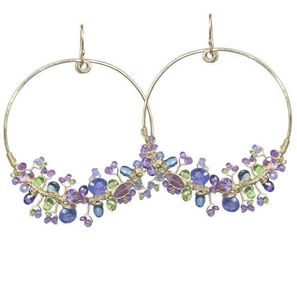 Calico Juno Designs Tanzanite Blue Topaz Amethyst and Peridot Earrings S106 Artistic Artisan Designer Jewelry