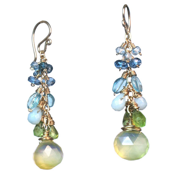 Calico Juno Designs Topaz Peridot and Prehnite Earrings P234 Artistic Artisan Designer Jewelry