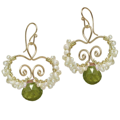 Calico Juno Designs Vessonite and Pearl Earrings N138 Artistic Artisan Designer Jewelry