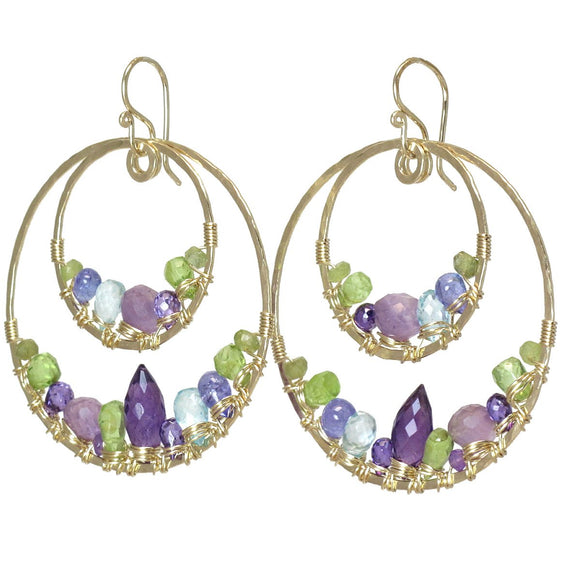 Calico Juno Designs Amethyst Peridot Blue Topaz and Tanzanite Earrings LB111 Artistic Artisan Designer Jewelry