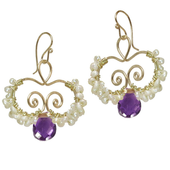 Calico Juno Designs Amethyst and Pearl Earrings N138 Artistic Artisan Designer Jewelry