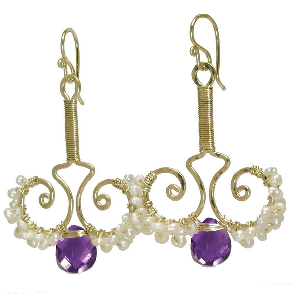Calico Juno Designs Amethyst and Pearl Earrings N79 Artistic Artisan Designer Jewelry