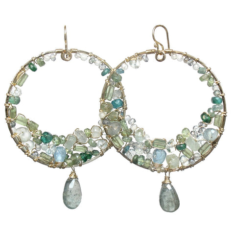 Calico Juno Designs Aquamarine Blue and Green Apatite and Moss Aquamarine Earrings S102 Artistic Artisan Designer Jewelry
