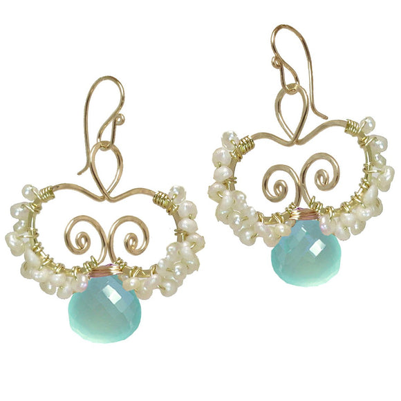 Calico Juno Designs Aquamarine and Pearl Earrings N138 Artistic Artisan Designer Jewelry