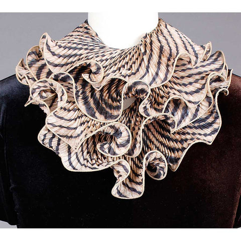 Cathayana Shibori Silk Infinity Scarf SIA-03 in Black and Beige, Artistic Designer Hand Dyed and Pleated Silk Scarf
