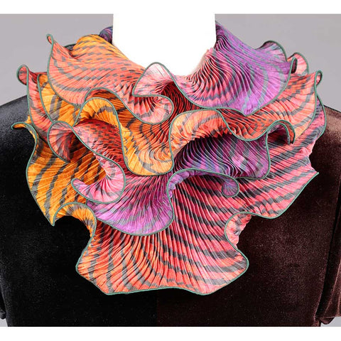 Cathayana Shibori Silk Infinity Scarf SIA-303 in Dark Green Orange and Red Artistic Hand Dyed and Pleated Silk Scarf