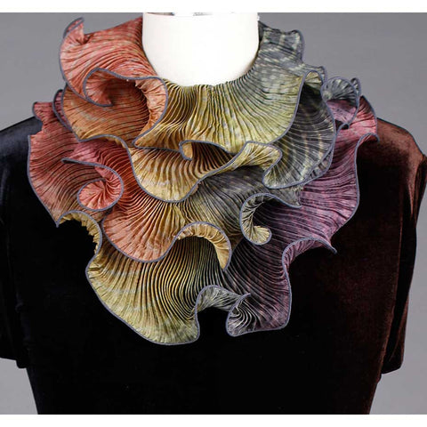 Cathayana Shibori Silk Infinity Scarf SIA-308 in Grey Straw and Magenta Artistic Designer Hand Dyed and Pleated Silk Scarf