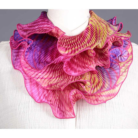 Cathayana Shibori Silk Infinity Scarf SIA-315 in Fuschia Green and Purple Artistic Hand Dyed and Pleated Silk Scarf.jpg