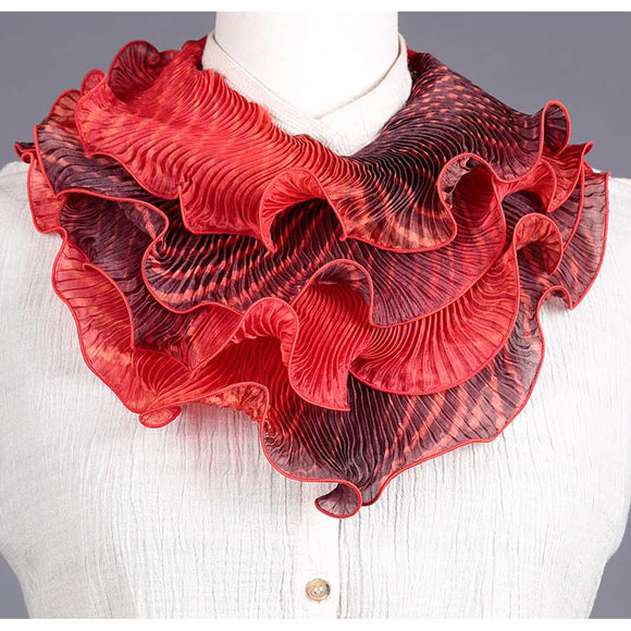 Cathayana Shibori Silk Infinity Scarf SIA-318 in Red and Black Artistic Designer Hand Dyed and Pleated Silk Scarf