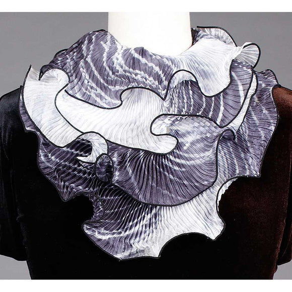 Cathayana Shibori Silk Infinity Scarf SIA-501 in Black and White Artistic Designer Hand Dyed and Pleated Silk Scarf