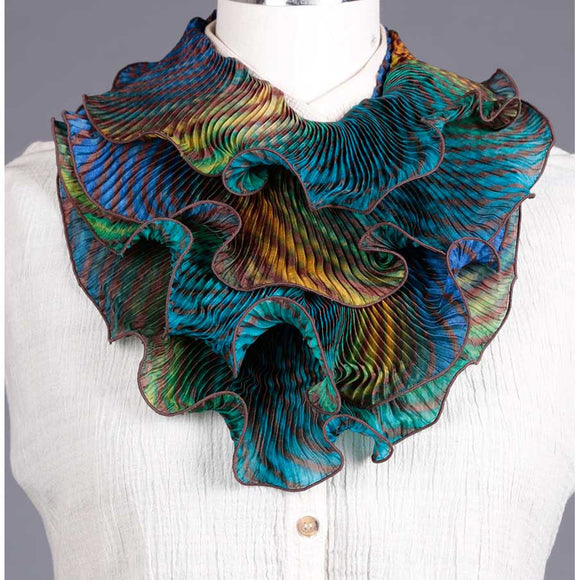 Cathayana Shibori Silk Infinity Scarf SIA-514 in Brown Blue and Turquoise Artistic Designer Hand Dyed and Pleated Silk Scarf