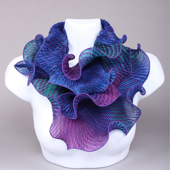 Cathayana Shibori Silk Infinity Scarf in Blue and Purple Artistic Designer Hand Dyed and Pleated Silk Scarf