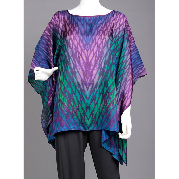 Cathayana Shibori Silk Poncho SY02 in Purples Greens and Blues Artistic Designer Hand Dyed and Pleated Silk Poncho