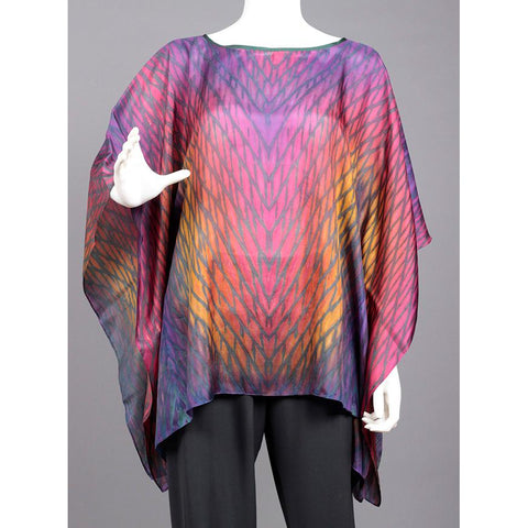 Cathayana Shibori Silk Poncho SY303 in Pinks Purples Yellows and Blues Artistic Designer Hand Dyed and Pleated Silk Poncho