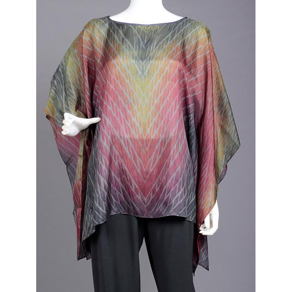 Cathayana Shibori Silk Poncho SY308 in Pinks Grays and Yellows Artistic Designer Hand Dyed and Pleated Silk Poncho