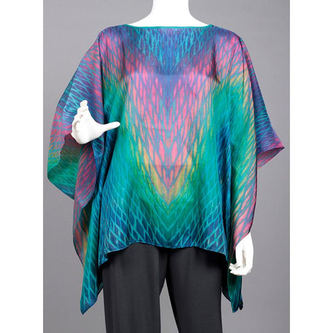 Cathayana Shibori Silk Poncho SY319 in Turquoise Blue Pink and Yellow Artistic Designer Hand Dyed and Pleated Silk Poncho