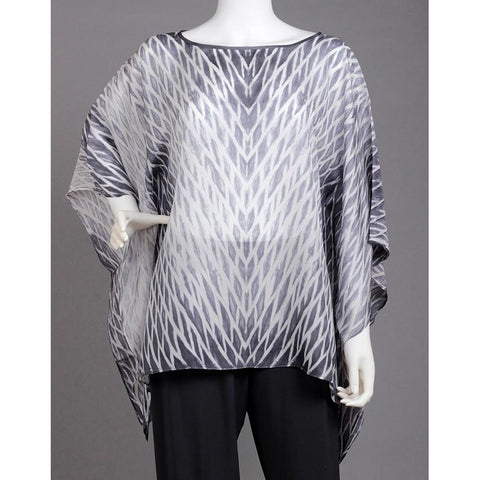 Cathayana Shibori Silk Poncho SY501 in Black and White Artistic Designer Hand Dyed and Pleated Silk Poncho
