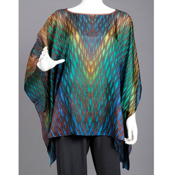 Cathayana Shibori Silk Poncho SY514 in Blue Turquoise Green Yellow and Browns Artistic Designer Hand Dyed and Pleated Silk Poncho