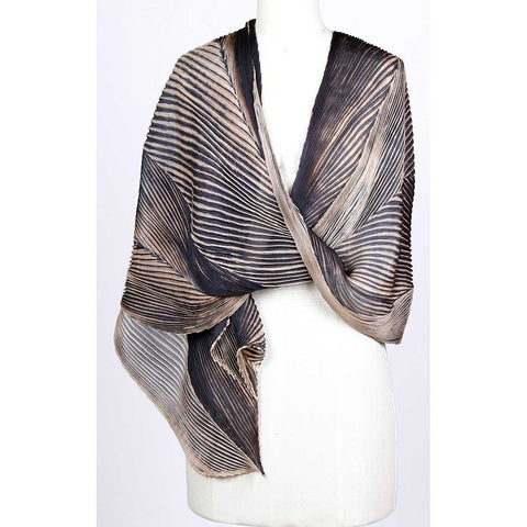 Cathayana Shibori Silk Shawl SA-03 in Black and Beige Artistic Designer Hand Dyed and Pleated Silk Shawls