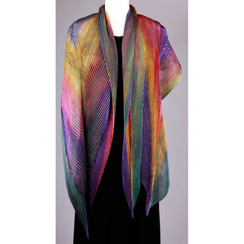 Cathayana Shibori Silk Shawl SA-303 in Dark Green Orange Red and Purple Artistic Hand Dyed and Pleated Silk Shawl