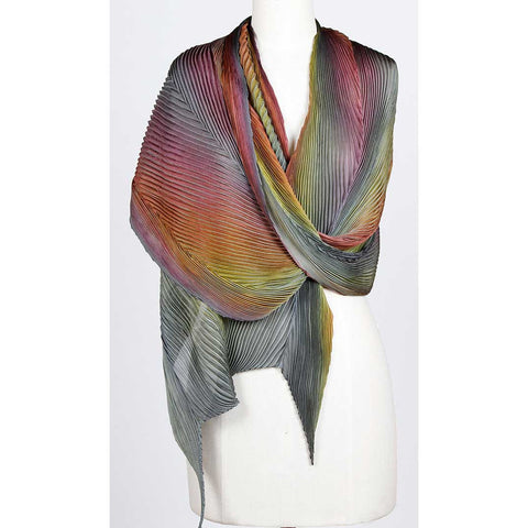 Cathayana Shibori Silk Shawl SA-308 in Grey Straw and Magenta Artistic Hand Dyed and Pleated Silk Shawl