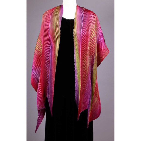 Cathayana Shibori Silk Shawl SA-315 in Fuschia Green and Purple Artistic Hand Dyed and Pleated Silk Shawl