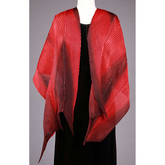 Cathayana Shibori Silk Shawl SA-318 in Red and Black Artistic Hand Dyed and Pleated Silk Shawl