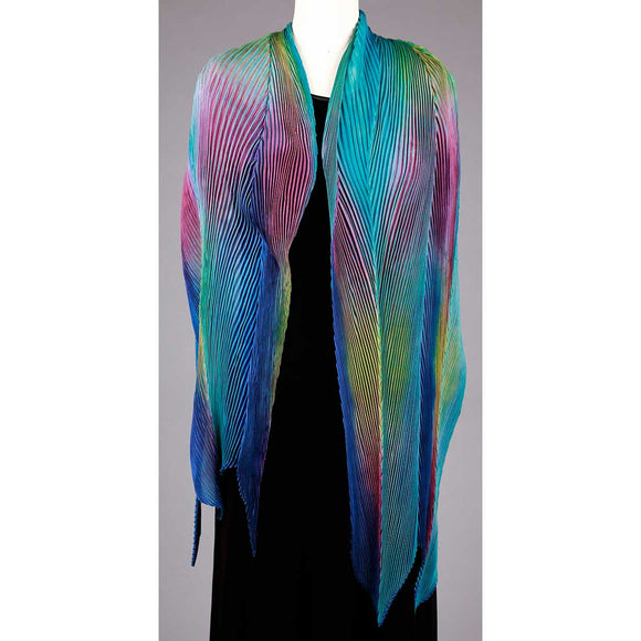 Cathayana Shibori Silk Shawl SA-319 in Turquoise Blue and Pink Artistic Designer Hand Dyed and Pleated Silk Shawl