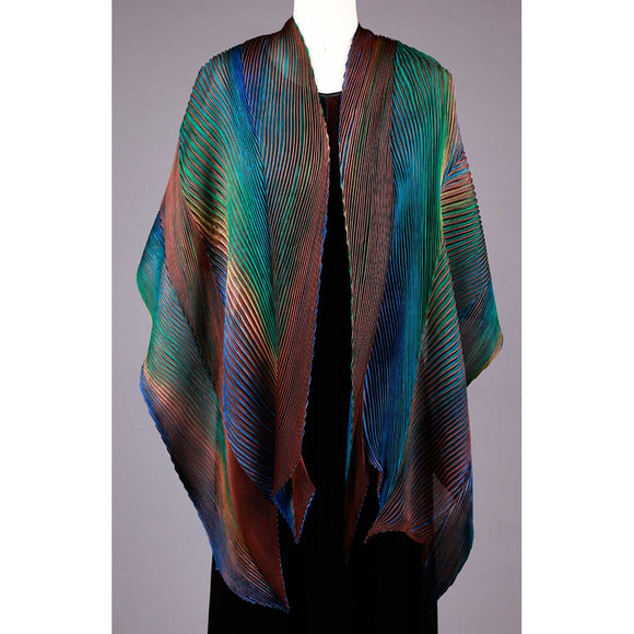Cathayana Shibori Silk Shawl SA-514 in Brown Turquoise and Gold Artistic Designer Hand Dyed and Pleated Silk Shawl