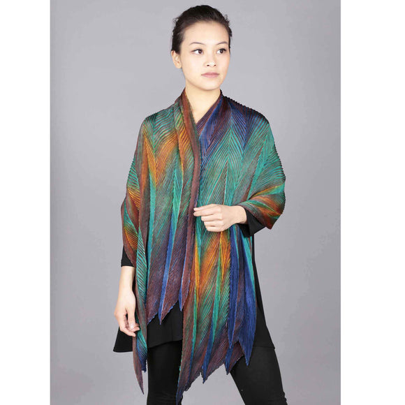 Cathayana Shibori Silk Shawl in Peacock Artistic Designer Hand Dyed and Pleated Silk Shawls