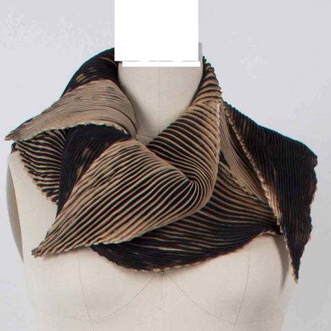 Cathayana Shibori Silk Zigzag Scarf in Black and Beige Artistic Designer Hand Dyed and Pleated Silk Scarf